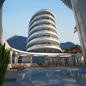 Penthouse with panoramic views of mountain, sea and Kyrenia